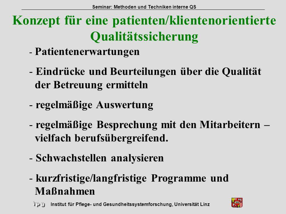 Institut für Pflege- und Gesundheitssystemforschung, Universität Linz Seminar: Methoden und Techniken interne QS Konzept für eine patienten/klientenor