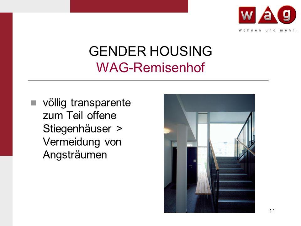11 GENDER HOUSING WAG-Remisenhof völlig transparente zum Teil offene Stiegenhäuser > Vermeidung von Angsträumen