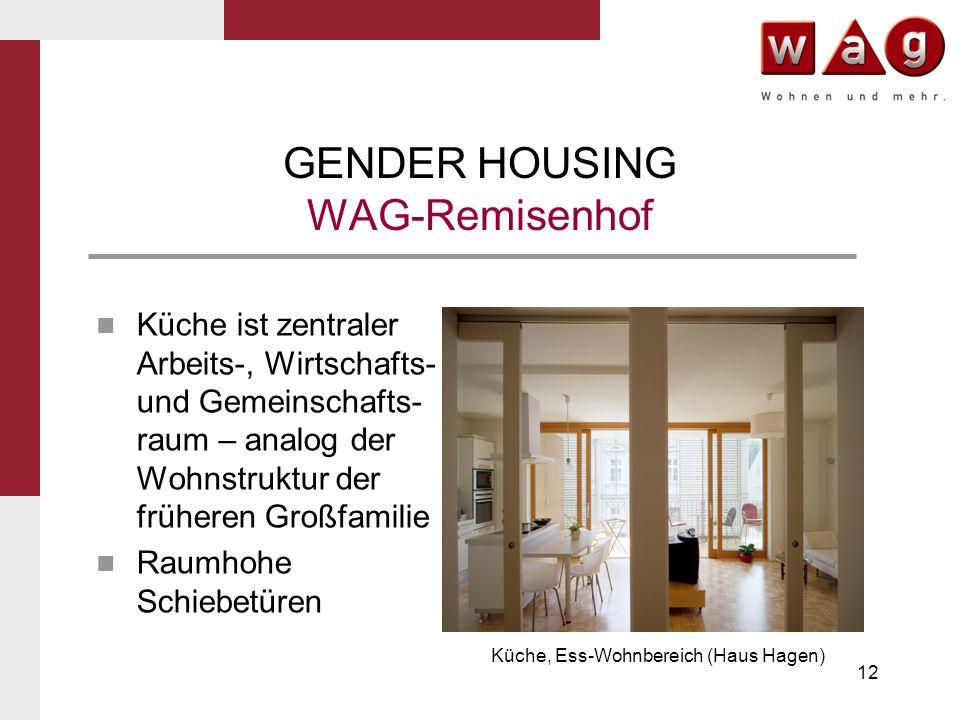 12 GENDER HOUSING WAG-Remisenhof Küche ist zentraler Arbeits-, Wirtschafts- und Gemeinschafts- raum – analog der Wohnstruktur der früheren Großfamilie