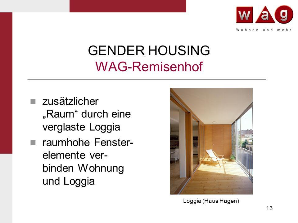 13 GENDER HOUSING WAG-Remisenhof zusätzlicher Raum durch eine verglaste Loggia raumhohe Fenster- elemente ver- binden Wohnung und Loggia Loggia (Haus