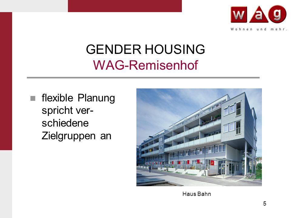 5 GENDER HOUSING WAG-Remisenhof Haus Bahn flexible Planung spricht ver- schiedene Zielgruppen an