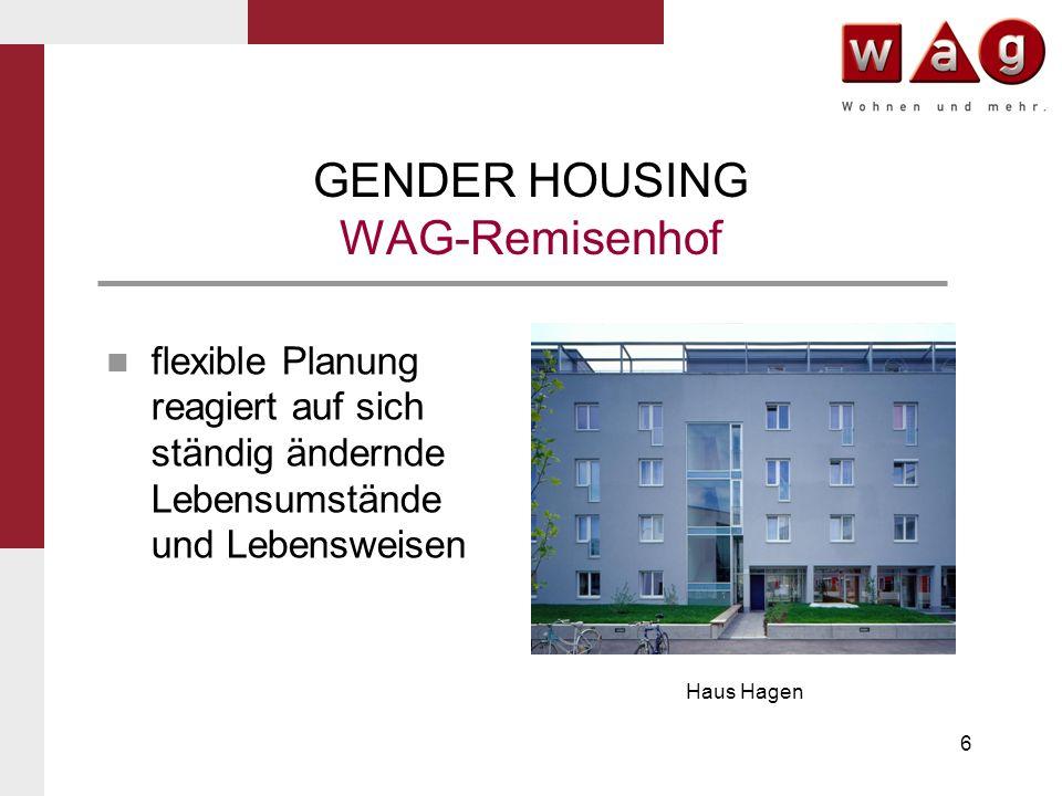 17 GENDER HOUSING WAG-Remisenhof Infrastrukturein- richtungen wie Eltern-Kind- Zentrum und Café Remisenhof mit Nahversorger- funktion Café Remisenhof
