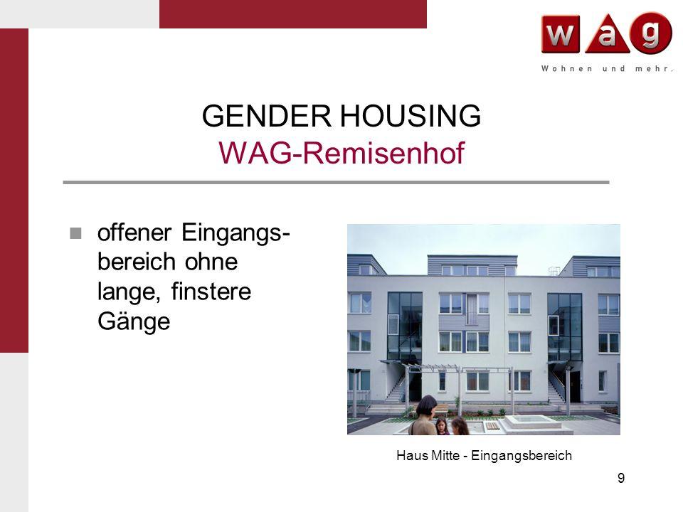 9 GENDER HOUSING WAG-Remisenhof offener Eingangs- bereich ohne lange, finstere Gänge Haus Mitte - Eingangsbereich
