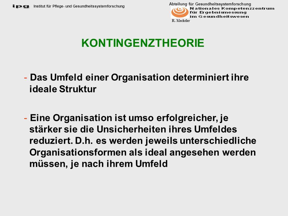 Institut für Pflege- und Gesundheitssystemforschung Abteilung für Gesundheitssystemforschung R. Mechtler KONTINGENZTHEORIE - Das Umfeld einer Organisa