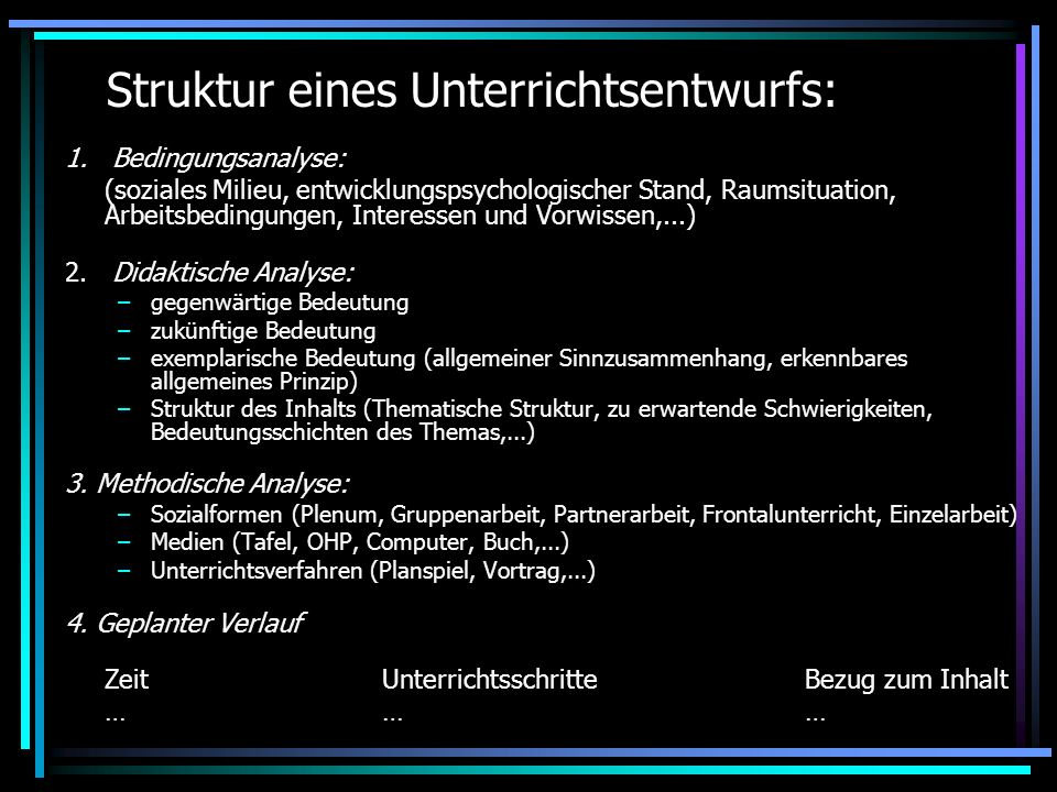 Struktur eines Unterrichtsentwurfs: 1. Bedingungsanalyse: (soziales Milieu, entwicklungspsychologischer Stand, Raumsituation, Arbeitsbedingungen, Inte