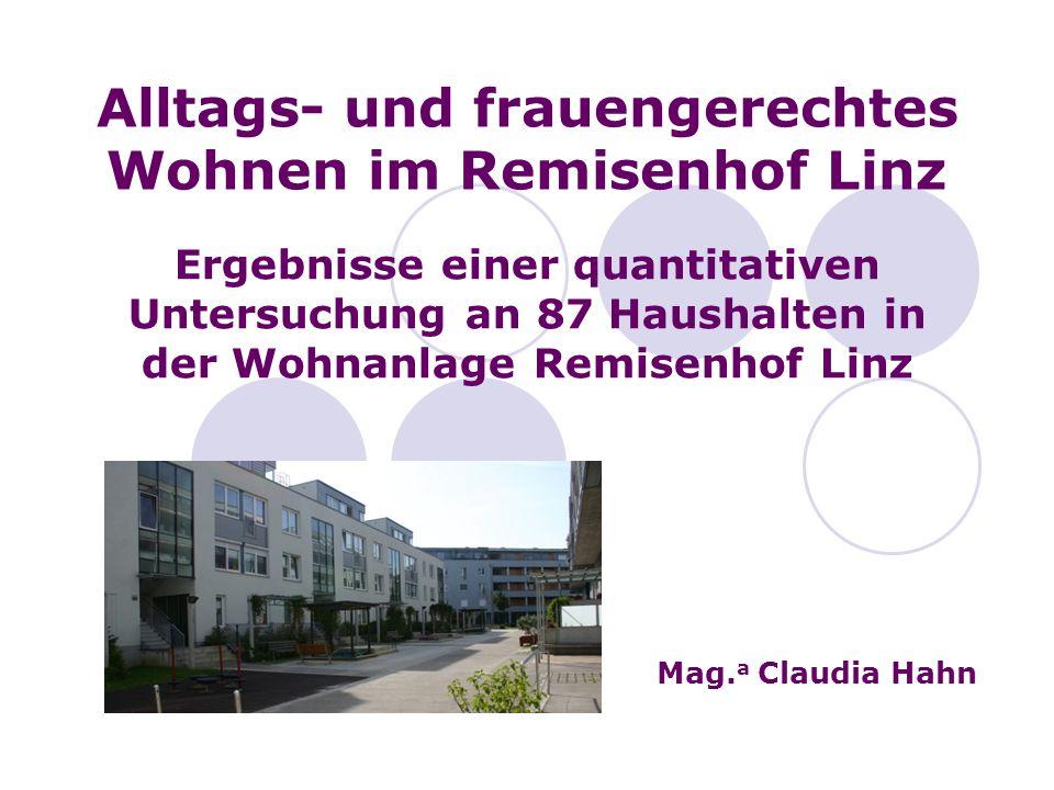 Alltags- und frauengerechtes Wohnen im Remisenhof Linz Ergebnisse einer quantitativen Untersuchung an 87 Haushalten in der Wohnanlage Remisenhof Linz Mag.