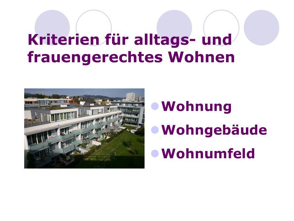 Kriterien für alltags- und frauengerechtes Wohnen Wohnung Wohngebäude Wohnumfeld