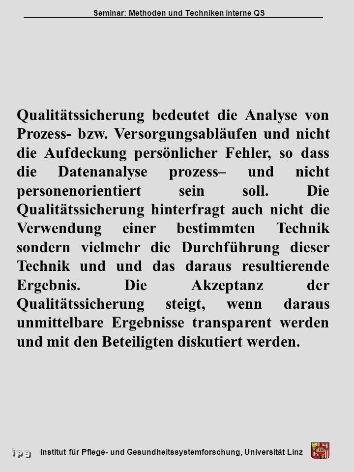 Institut für Pflege- und Gesundheitssystemforschung, Universität Linz Seminar: Methoden und Techniken interne QS Qualitätssicherung bedeutet die Analy
