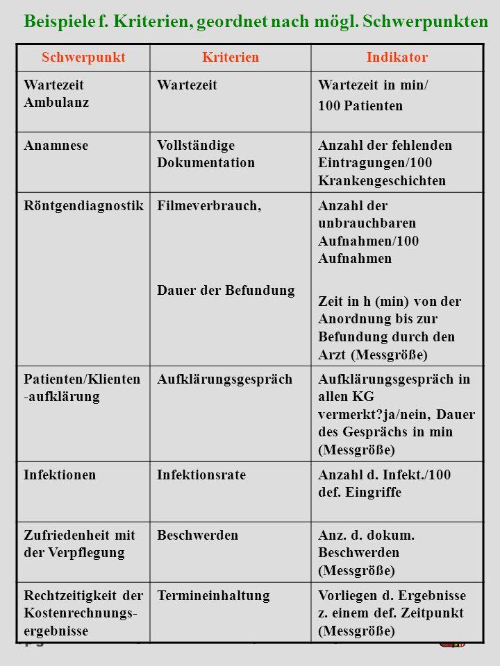 Institut für Pflege- und Gesundheitssystemforschung, Universität Linz Seminar: Methoden und Techniken interne QS SchwerpunktKriterienIndikator Warteze