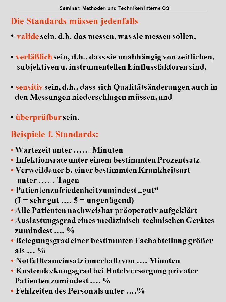 Institut für Pflege- und Gesundheitssystemforschung, Universität Linz Seminar: Methoden und Techniken interne QS Die Standards müssen jedenfalls valid
