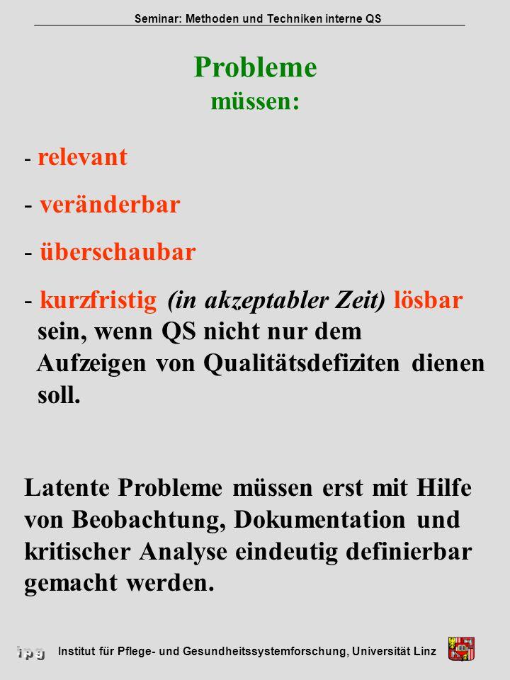 Institut für Pflege- und Gesundheitssystemforschung, Universität Linz Seminar: Methoden und Techniken interne QS Probleme müssen: - - relevant - - ver
