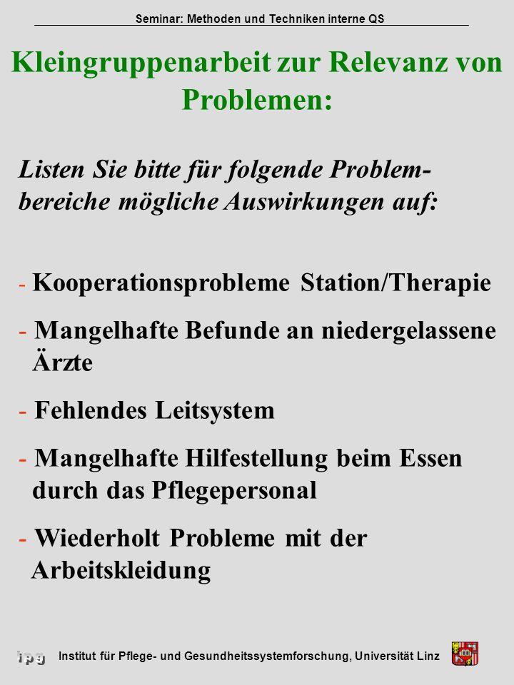 Institut für Pflege- und Gesundheitssystemforschung, Universität Linz Seminar: Methoden und Techniken interne QS Kleingruppenarbeit zur Relevanz von P