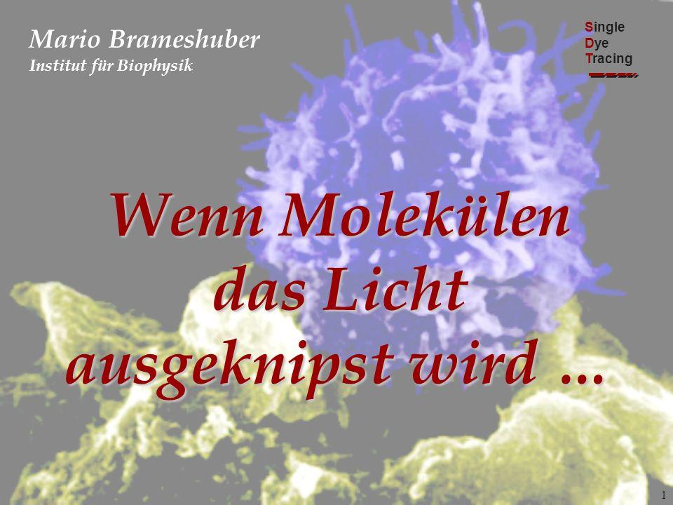1 Mario Brameshuber Institut für Biophysik Single Dye Tracing Wenn Molekülen das Licht ausgeknipst wird …