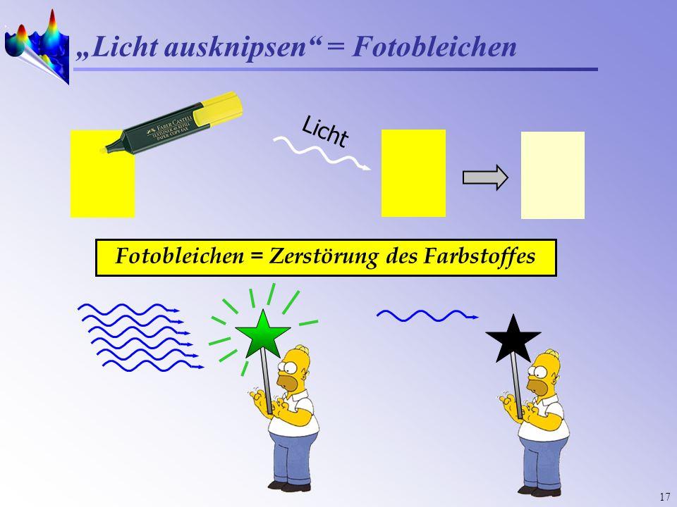 17 Licht ausknipsen = Fotobleichen Licht Fotobleichen = Zerstörung des Farbstoffes
