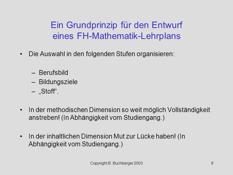 Copyright B.Buchberger 200320 Inhalte der FH-Mathematik Bei F.