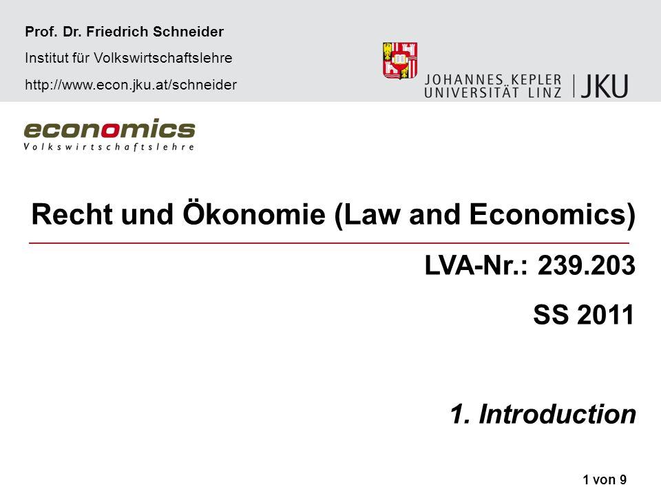 Recht und Ökonomie SS 2011EinführungProf.Dr.