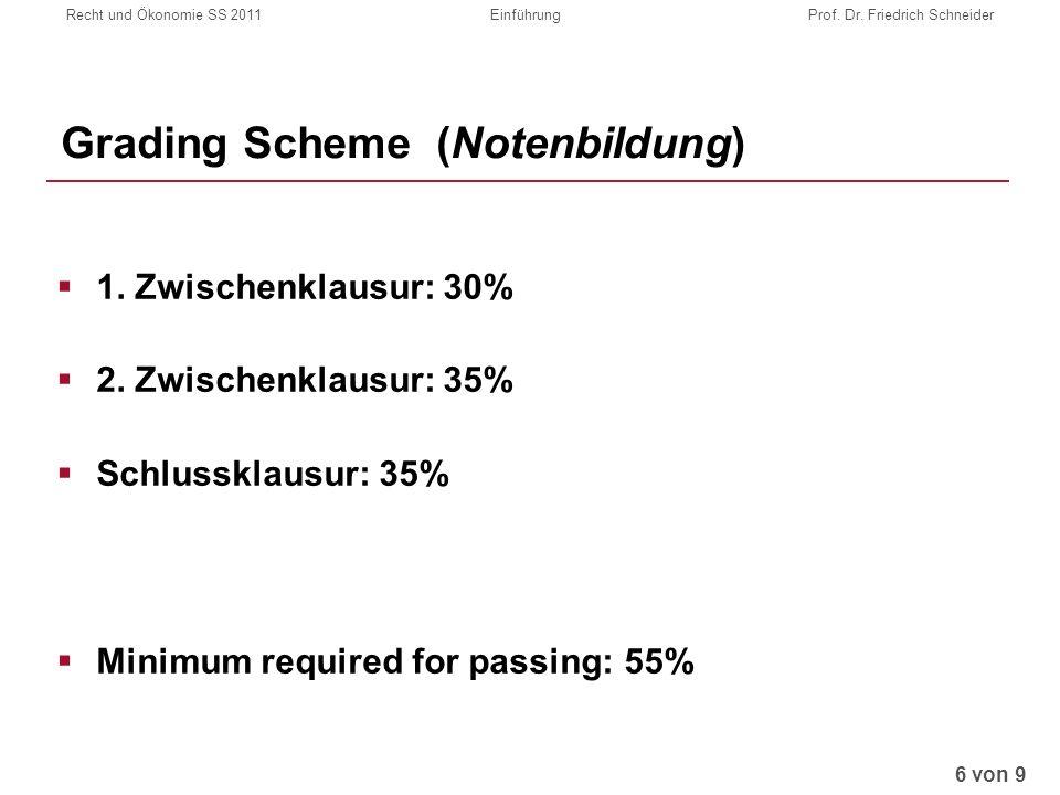 Recht und Ökonomie SS 2011EinführungProf. Dr. Friedrich Schneider Grading Scheme (Notenbildung) 1.
