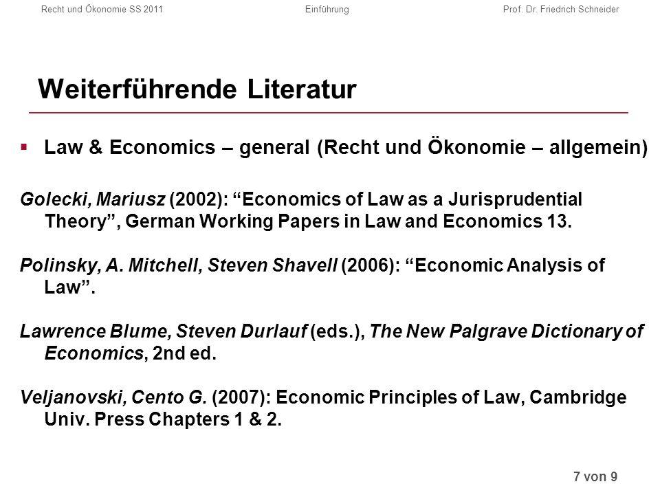 Recht und Ökonomie SS 2011EinführungProf. Dr.
