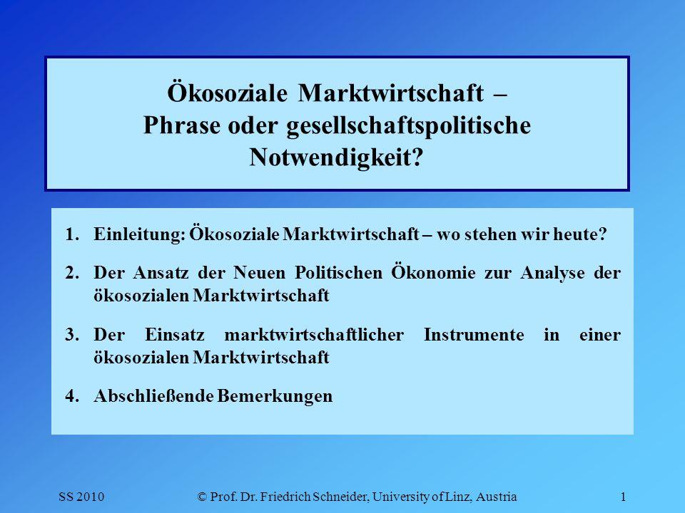 SS 2010© Prof.Dr. Friedrich Schneider, University of Linz, Austria22 2.