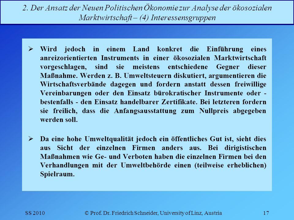 SS 2010© Prof.Dr. Friedrich Schneider, University of Linz, Austria17 2.