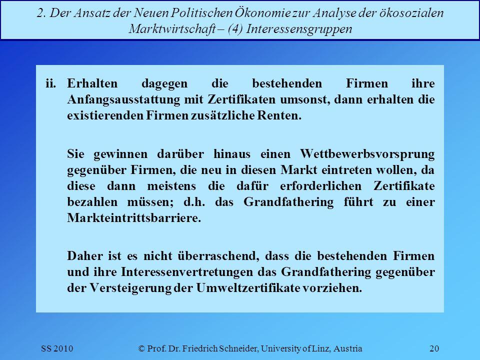 SS 2010© Prof.Dr. Friedrich Schneider, University of Linz, Austria20 2.