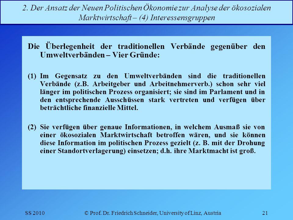 SS 2010© Prof.Dr. Friedrich Schneider, University of Linz, Austria21 2.