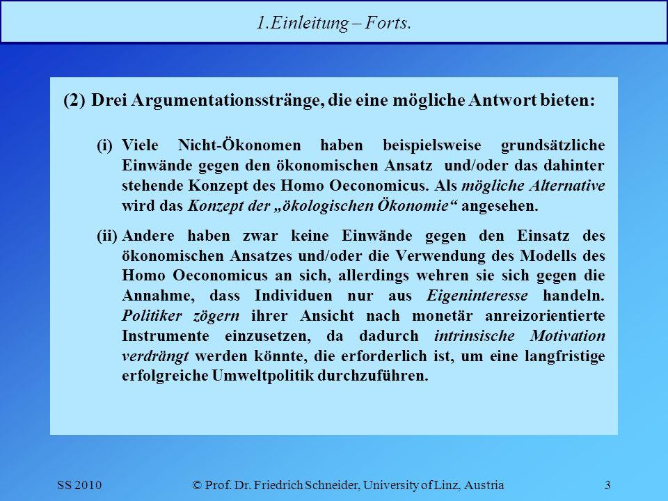 SS 2010© Prof.Dr. Friedrich Schneider, University of Linz, Austria3 1.Einleitung – Forts.