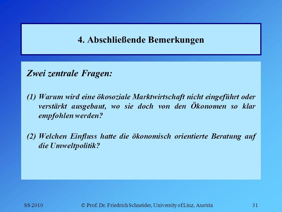 SS 2010© Prof.Dr. Friedrich Schneider, University of Linz, Austria31 4.