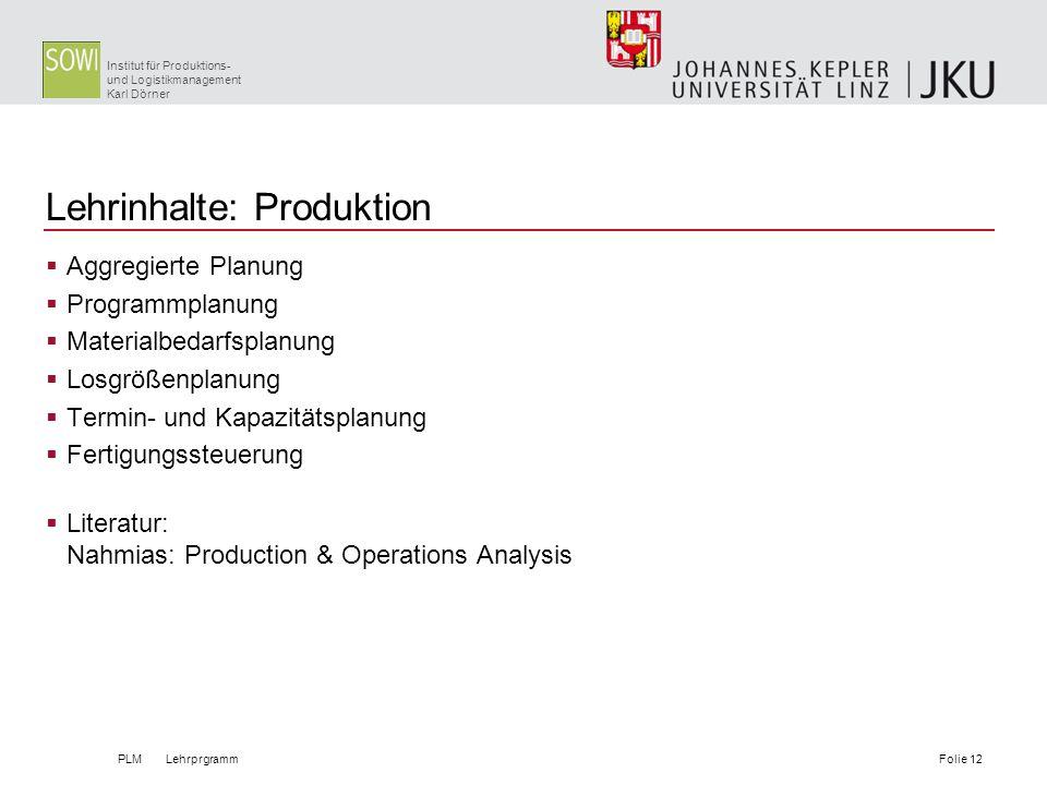 Institut für Produktions- und Logistikmanagement Karl Dörner Lehrinhalte: Produktion Aggregierte Planung Programmplanung Materialbedarfsplanung Losgrö
