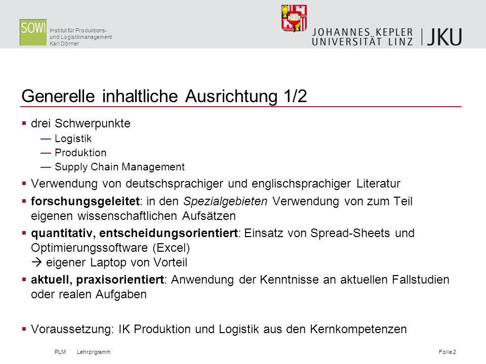 Institut für Produktions- und Logistikmanagement Karl Dörner Generelle inhaltliche Ausrichtung 1/2 drei Schwerpunkte Logistik Produktion Supply Chain