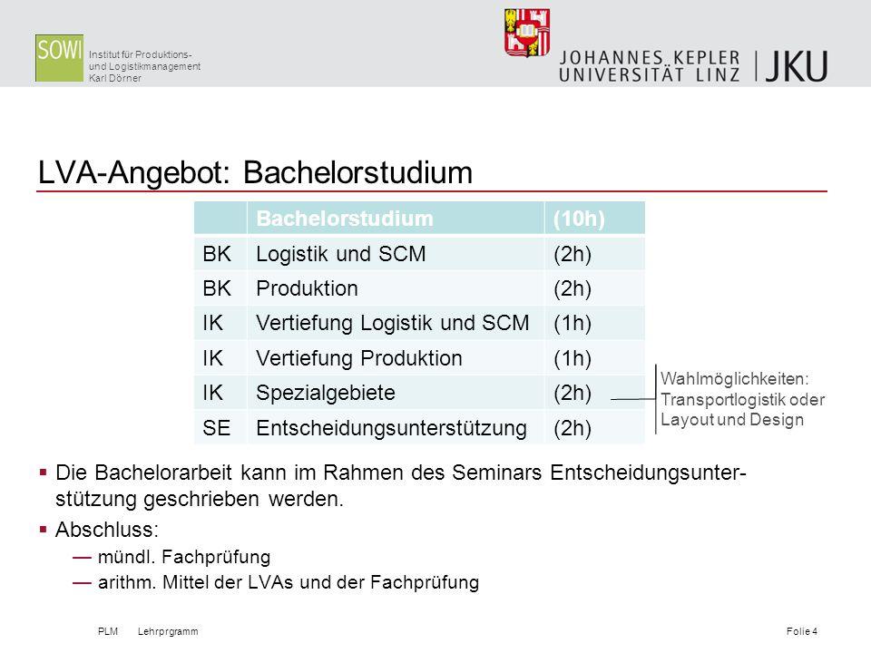 Institut für Produktions- und Logistikmanagement Karl Dörner LVA-Angebot: Bachelorstudium Die Bachelorarbeit kann im Rahmen des Seminars Entscheidungs