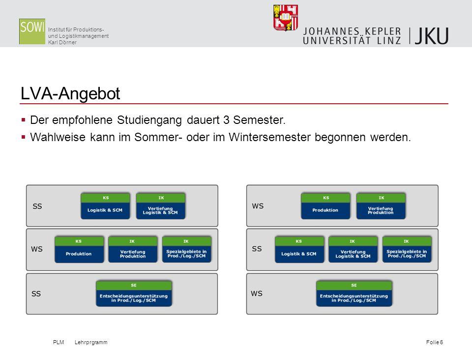 Institut für Produktions- und Logistikmanagement Karl Dörner LVA-Angebot PLM LehrprgrammFolie 6 Der empfohlene Studiengang dauert 3 Semester. Wahlweis