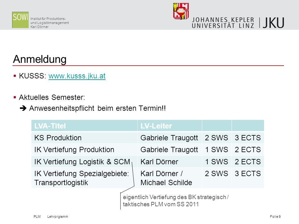 Institut für Produktions- und Logistikmanagement Karl Dörner Anmeldung KUSSS: www.kusss.jku.atwww.kusss.jku.at Aktuelles Semester: Anwesenheitspflicht