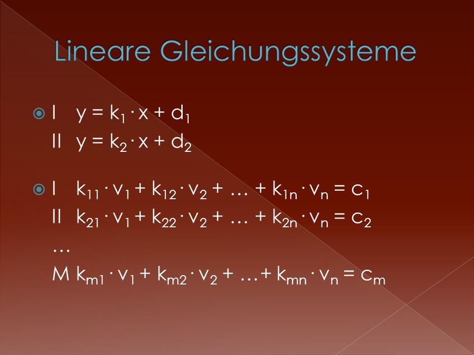 Iy = k 1 · x + d 1 IIy = k 2 · x + d 2 Ik 11 · v 1 + k 12 · v 2 + … + k 1n · v n = c 1 IIk 21 · v 1 + k 22 · v 2 + … + k 2n · v n = c 2 … Mk m1 · v 1 + k m2 · v 2 + …+ k mn · v n = c m
