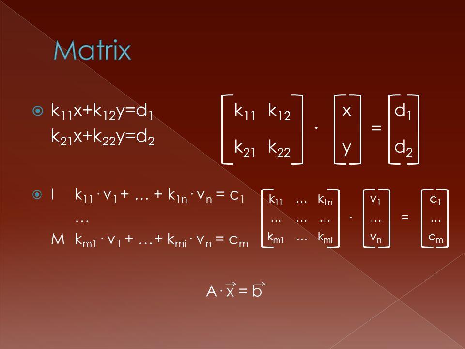 k 11 x+k 12 y=d 1 k 21 x+k 22 y=d 2 Ik 11 · v 1 + … + k 1n · v n = c 1 … Mk m1 · v 1 + …+ k mi · v n = c m A· x = b k 11 k 12 · x = d1d1 k 21 k 22 yd2d2 k 11 …k 1n · v1v1 c1c1 …………=… k m1 …k mi vnvn cmcm