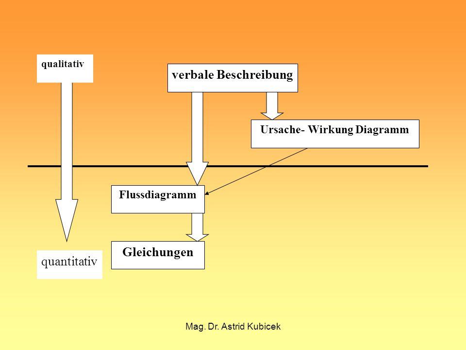 Mag. Dr. Astrid Kubicek verbale Beschreibung Ursache- Wirkung Diagramm Flussdiagramm Gleichungen qualitativ quantitativ