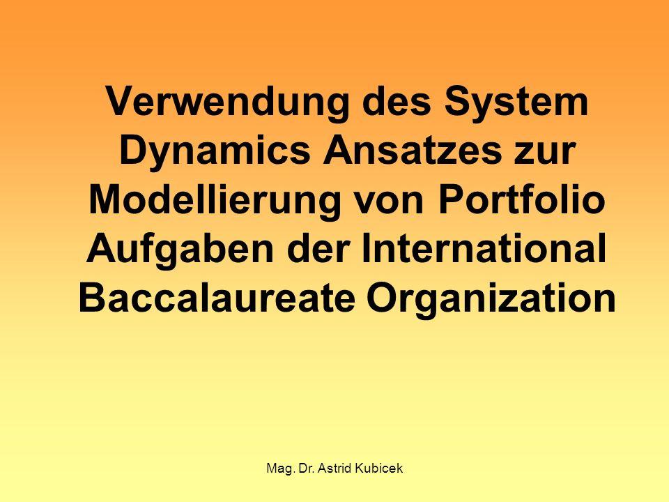 Mag. Dr. Astrid Kubicek Verwendung des System Dynamics Ansatzes zur Modellierung von Portfolio Aufgaben der International Baccalaureate Organization