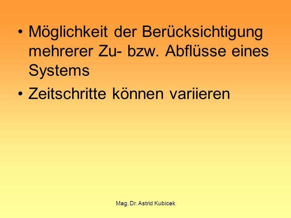 Mag. Dr. Astrid Kubicek Möglichkeit der Berücksichtigung mehrerer Zu- bzw. Abflüsse eines Systems Zeitschritte können variieren