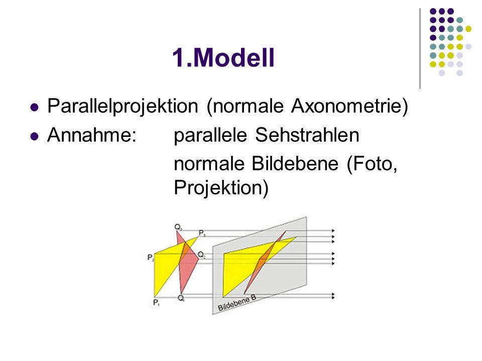 1.Modell Parallelprojektion (normale Axonometrie) Annahme: parallele Sehstrahlen normale Bildebene (Foto, Projektion)