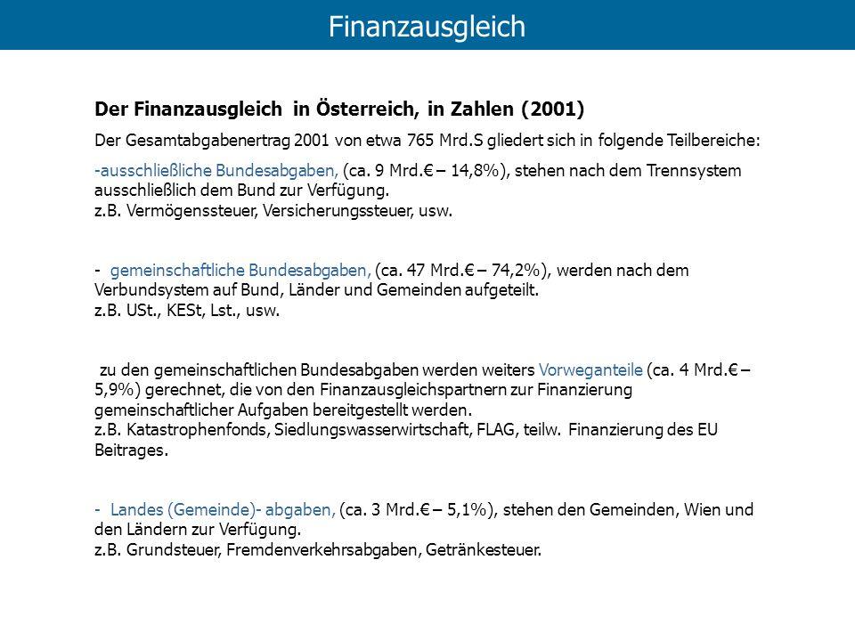 Finanzausgleich Der Finanzausgleich in Österreich, in Zahlen (2001) Der Gesamtabgabenertrag 2001 von etwa 765 Mrd.S gliedert sich in folgende Teilbere