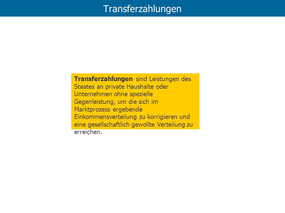 Transferzahlungen Transferzahlungen sind Leistungen des Staates an private Haushalte oder Unternehmen ohne spezielle Gegenleistung, um die sich im Mar