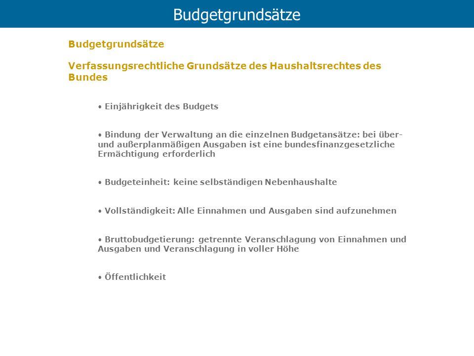 Budgetgrundsätze Verfassungsrechtliche Grundsätze des Haushaltsrechtes des Bundes Einjährigkeit des Budgets Bindung der Verwaltung an die einzelnen Bu