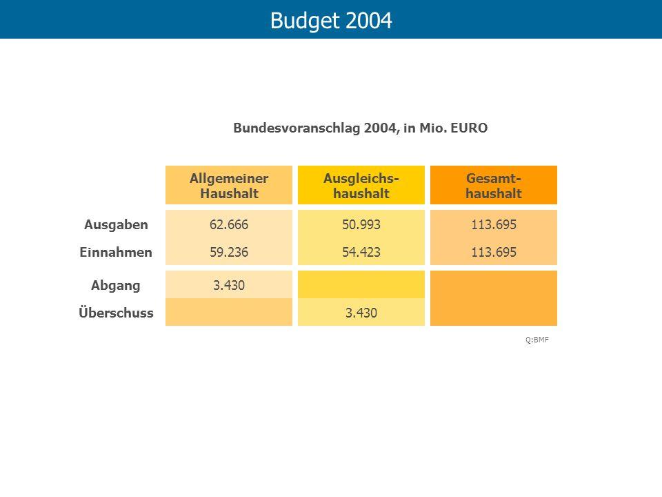 Budget 2004 Allgemeiner Haushalt Ausgleichs- haushalt Gesamt- haushalt 62.66650.993113.695 59.23654.423113.695 3.430 Ausgaben Einnahmen Abgang Übersch