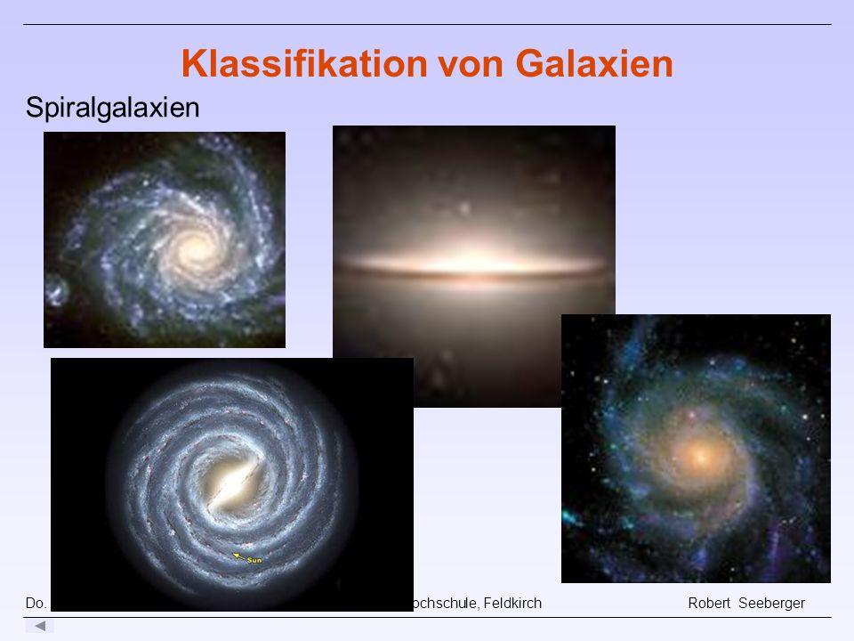 Do. 16.10.08 Pädagogische Hochschule, Feldkirch Robert Seeberger Klassifikation von Galaxien Spiralgalaxien
