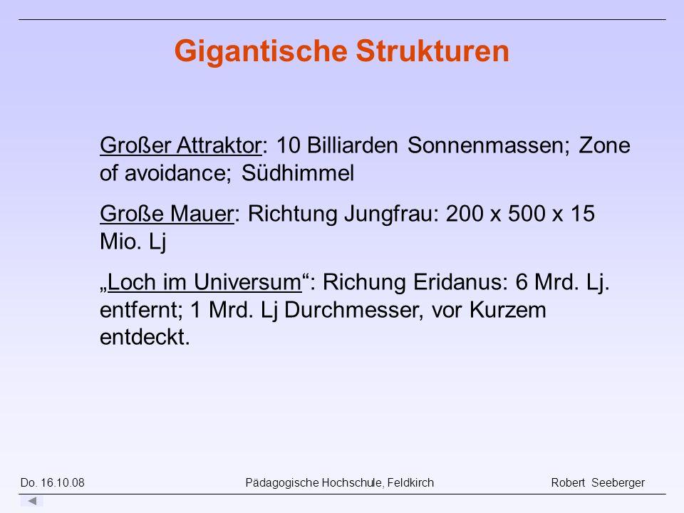 Do. 16.10.08 Pädagogische Hochschule, Feldkirch Robert Seeberger Großer Attraktor: 10 Billiarden Sonnenmassen; Zone of avoidance; Südhimmel Große Maue