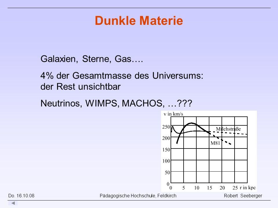 Do. 16.10.08 Pädagogische Hochschule, Feldkirch Robert Seeberger Galaxien, Sterne, Gas…. 4% der Gesamtmasse des Universums: der Rest unsichtbar Neutri