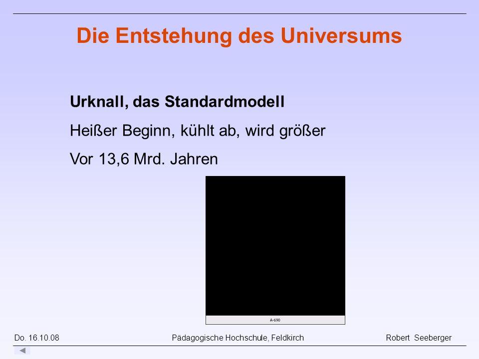 Do. 16.10.08 Pädagogische Hochschule, Feldkirch Robert Seeberger Urknall, das Standardmodell Heißer Beginn, kühlt ab, wird größer Vor 13,6 Mrd. Jahren