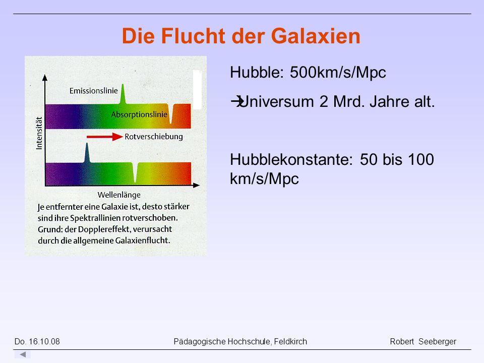 Do. 16.10.08 Pädagogische Hochschule, Feldkirch Robert Seeberger Hubble: 500km/s/Mpc Universum 2 Mrd. Jahre alt. Hubblekonstante: 50 bis 100 km/s/Mpc