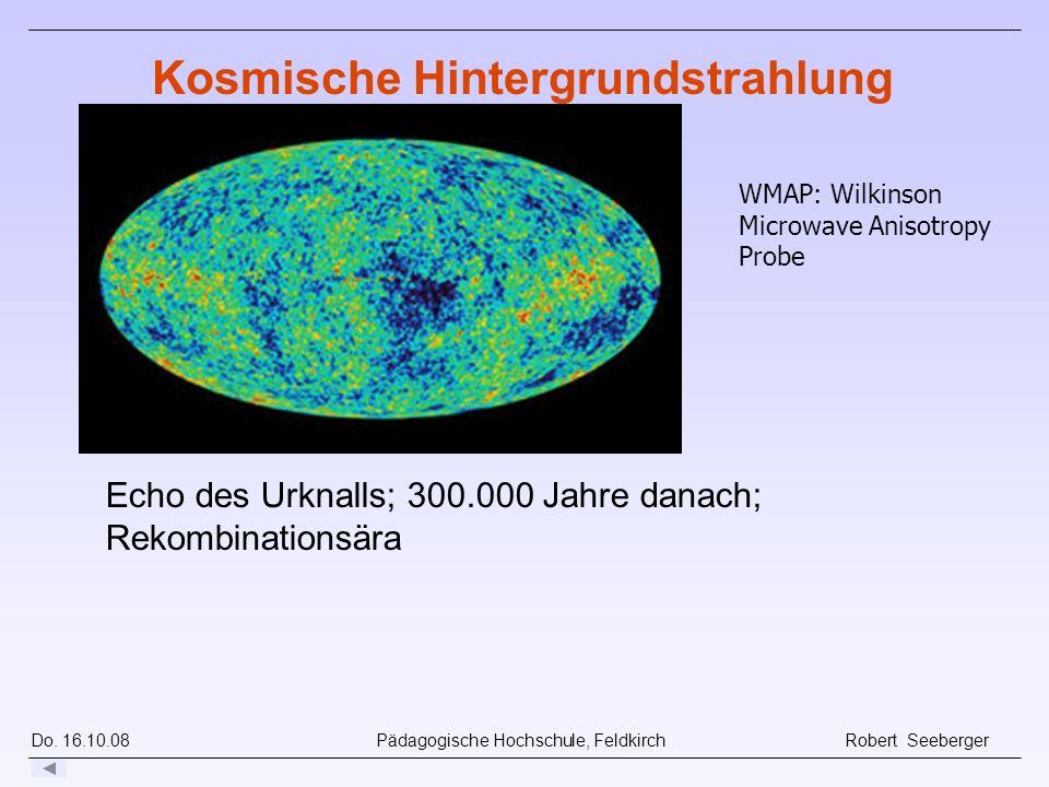 Do. 16.10.08 Pädagogische Hochschule, Feldkirch Robert Seeberger Echo des Urknalls; 300.000 Jahre danach; Rekombinationsära Kosmische Hintergrundstrah