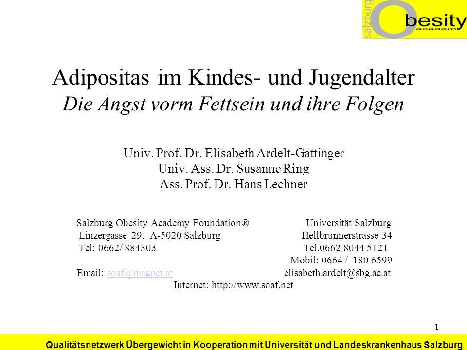 Qualitätsnetzwerk Übergewicht in Kooperation mit Universität und Landeskrankenhaus Salzburg 22 Risikoreiches Verhalten der Erziehungspersonen Ermahnungen und Überkontrolle bzgl.